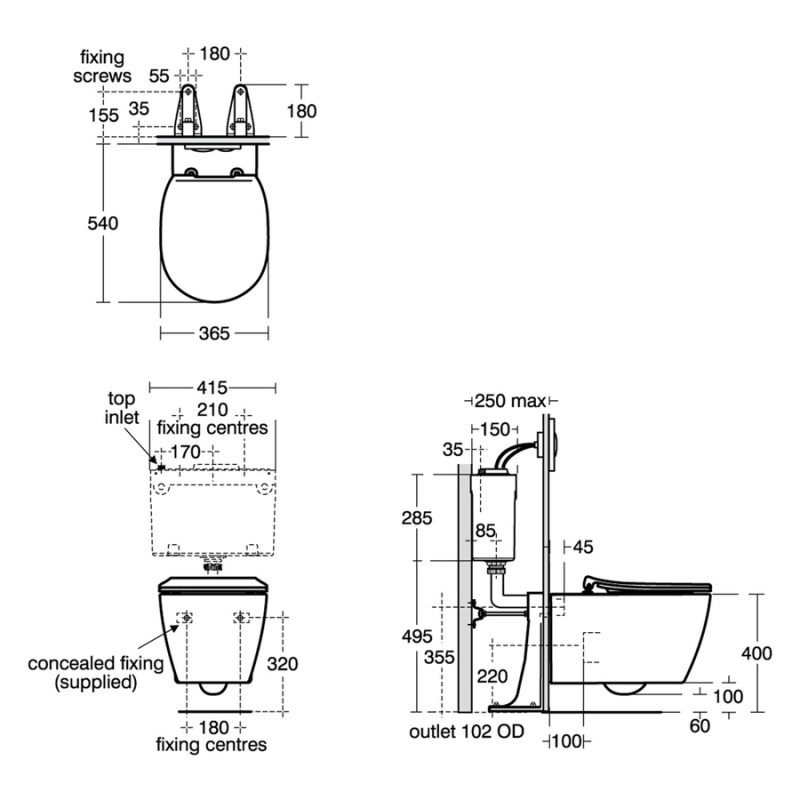 Ideal Standard Concept Aquablade Wall-Hung WC Pan E0473
