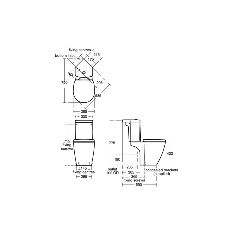 Ideal Standard Concept Space Close Coupled WC Pan E1205