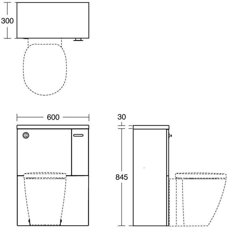 Ideal Standard Concept Space 600mm WC Unit RH E1436 Oak