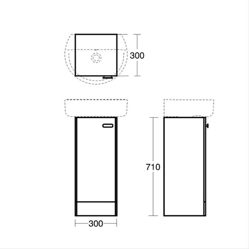 Ideal Standard Concept 300mm Pedestal Unit E1443 Oak