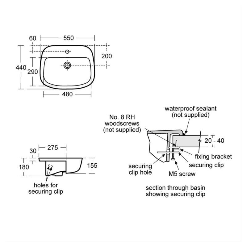 Ideal Standard Studio Echo 55cm Semi-Countertop Basin 1 Taphole E1594