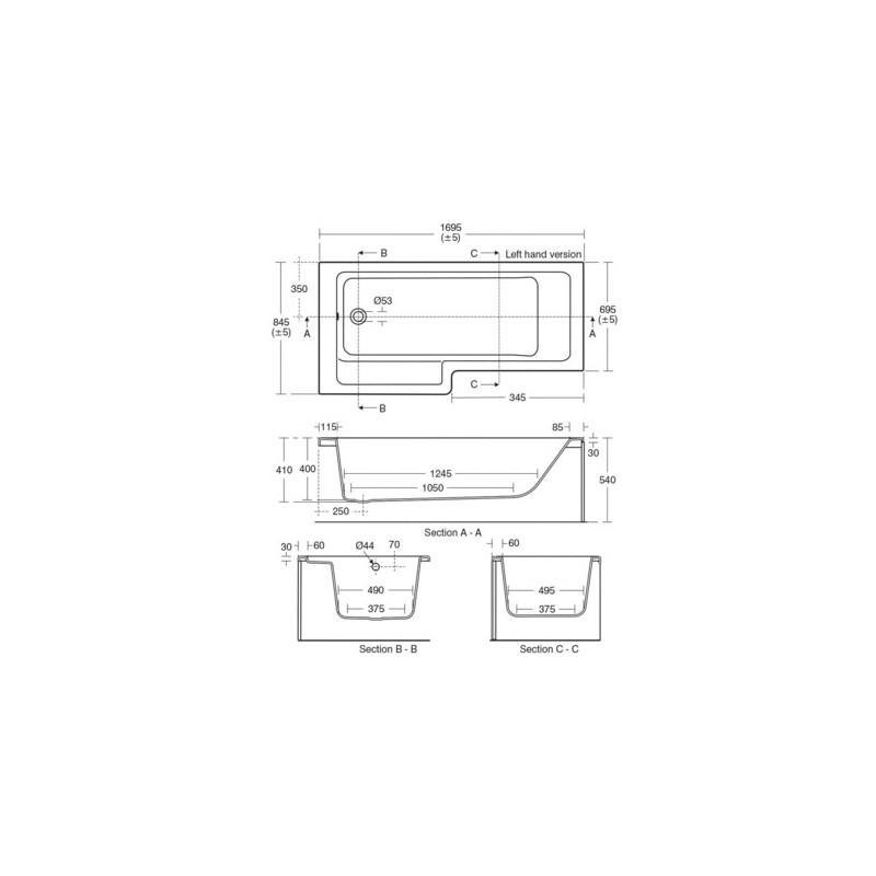 Ideal Standard Tempo Cube 170cm Shower Bath Left Hand E2595