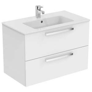 Ideal Standard Tempo 800mm 2 Drawer White Wall Vanity Unit & Basin