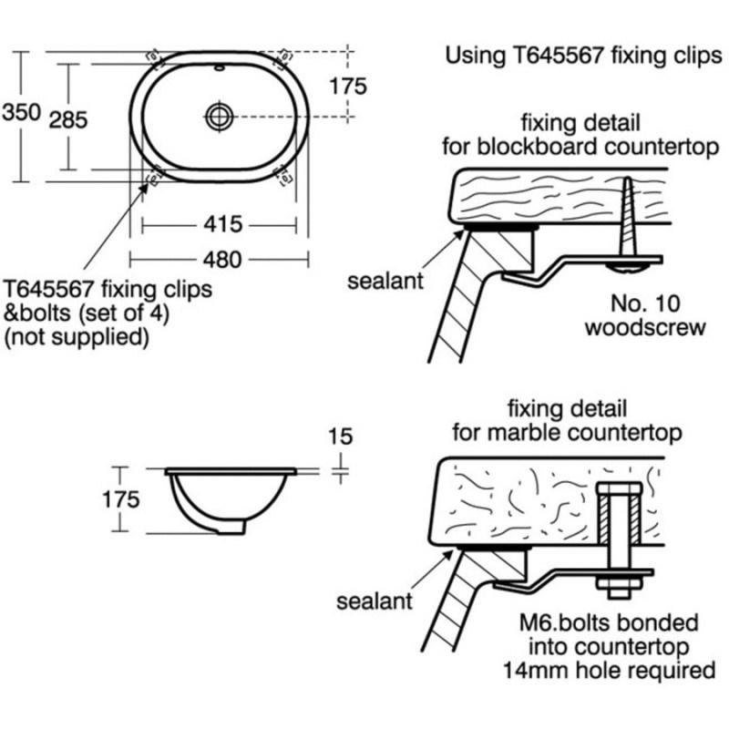 Ideal Standard Concept Oval 48cm Under-Countertop Basin E5018