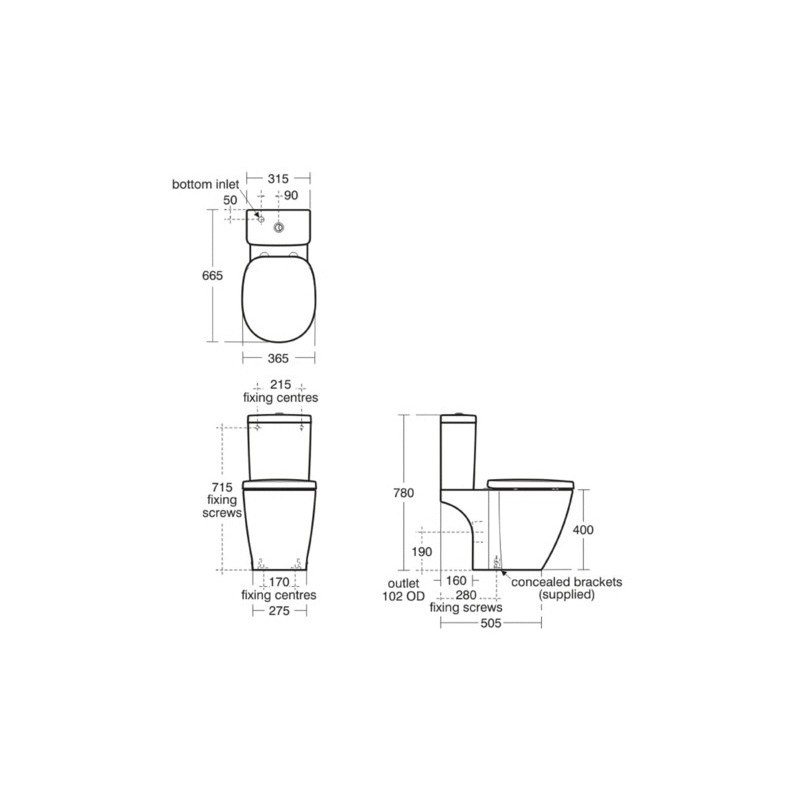 Ideal Standard Concept Cube Close Coupled Toilet with Standard Seat