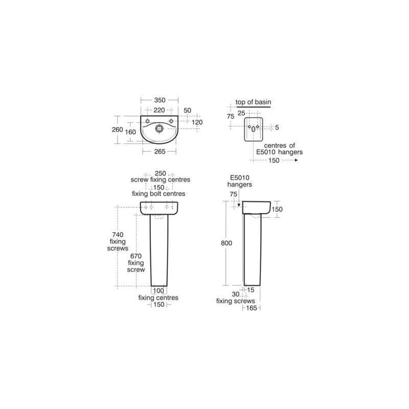 Ideal Standard Concept Arc 35cm Handrinse Washbasin 2 Tapholes