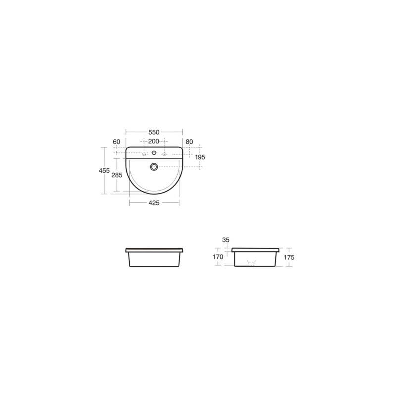 Ideal Standard Concept Arc 55cm Countertop Washbasin 1 Taphole
