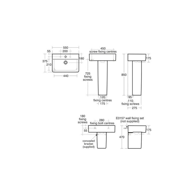 Ideal Standard Concept Cube 55cm Washbasin 1 Taphole E7992