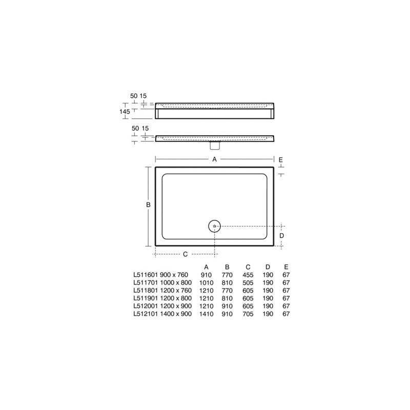 Ideal Standard Simplicity 900x760mm Shower Tray Upstands L5116