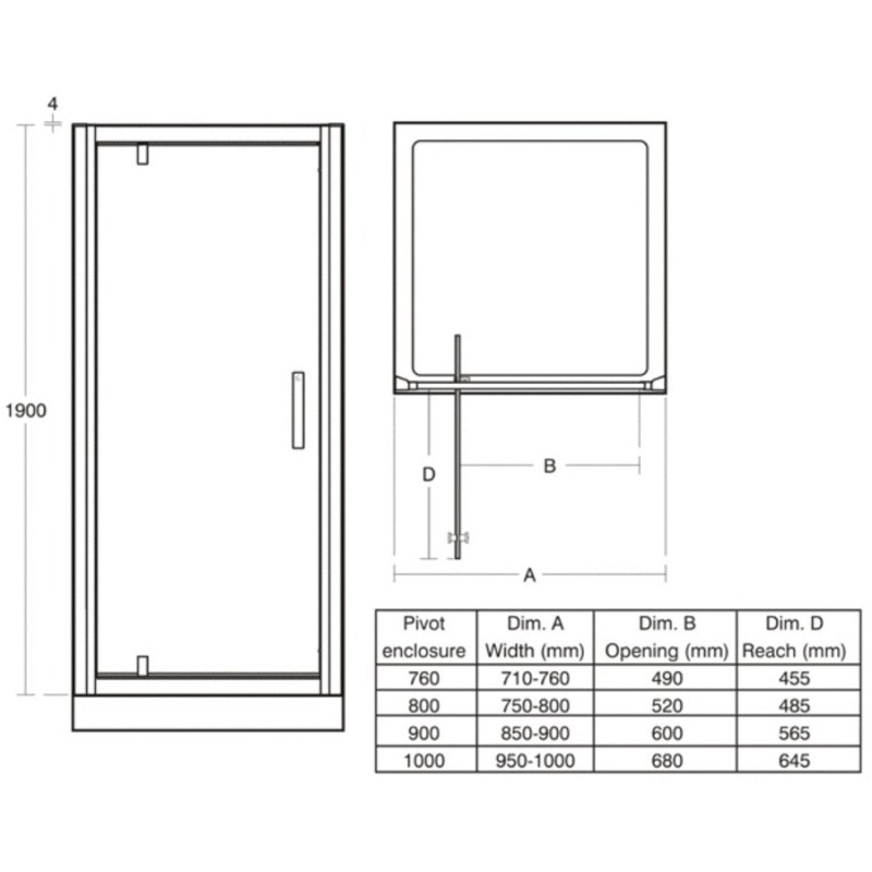 Ideal Standard Synergy 1000mm Pivot Door L6204 Bright Silver