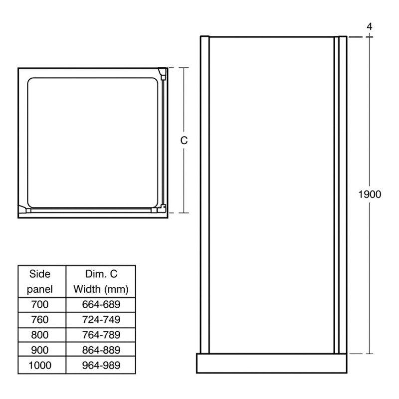 Ideal Standard Synergy 760mm Side Panel L6216 Bright Silver