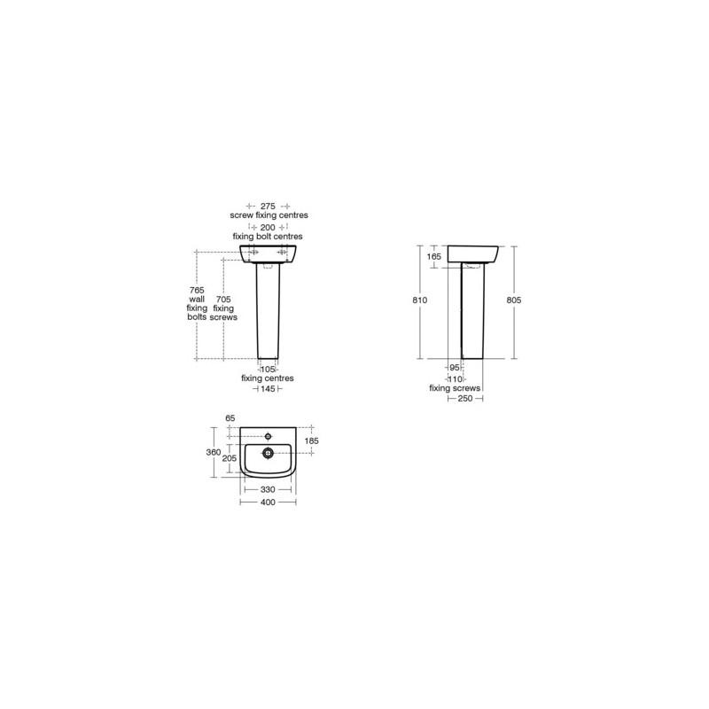 Ideal Standard Tempo 40cm Handrinse Basin 1 Taphole T0593