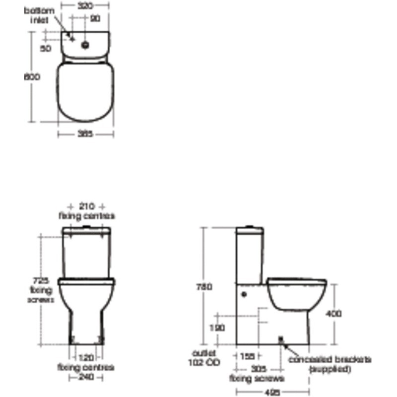 Ideal Standard Tempo Close Coupled Back-To-Wall WC Bowl T3287