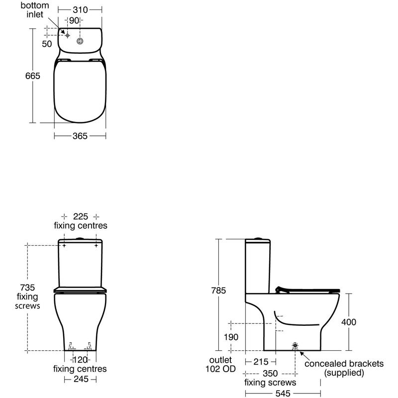 Ideal Standard Tesi Aquablade Close Coupled WC Bowl T3564 White