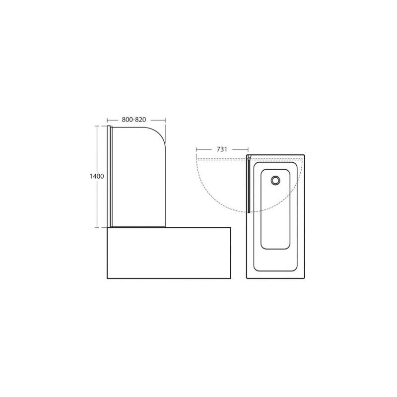 Ideal Standard Connect Radius Bath Screen T9924