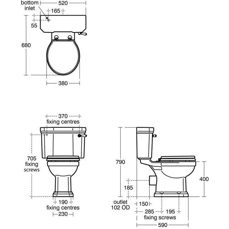 Ideal Standard Waverley Classic Close Coupled Toilet with Mahogany Seat