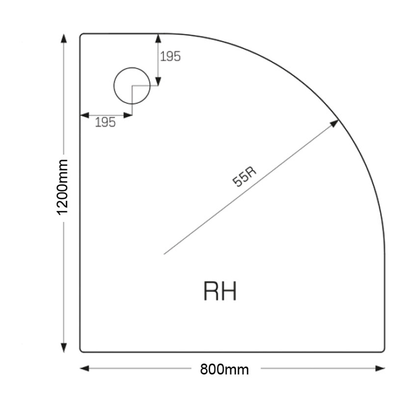 Just Trays Ultracast 1200x800mm RH Offset Quadrant Shower Tray