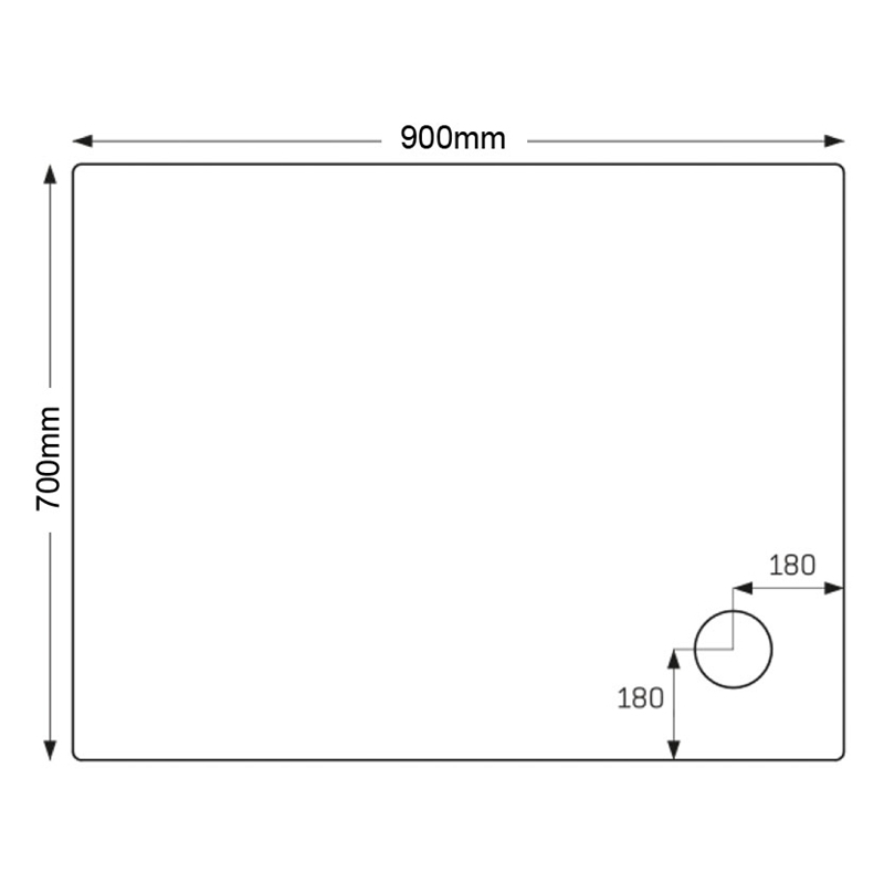 Just Trays Ultracast 900x700mm Rectangular Shower Tray