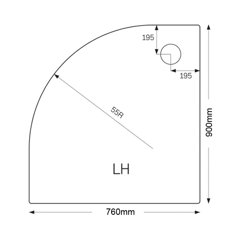 Just Trays Merlin 900x760mm LH Offset Quadrant Shower Tray