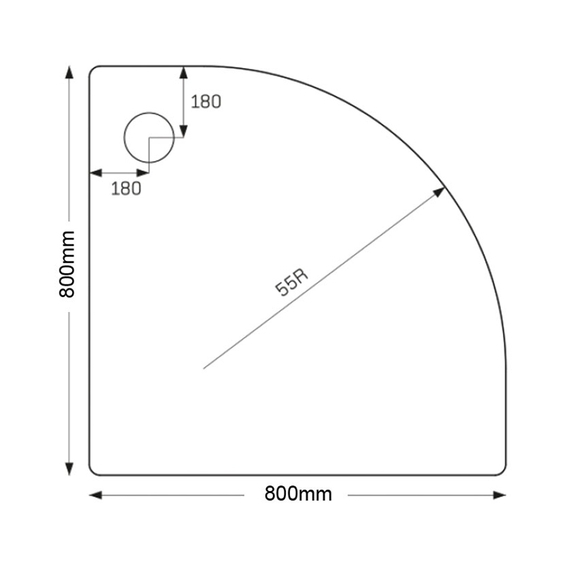Just Trays Merlin 800mm Quadrant Tray 2 Upstands Anti-Slip