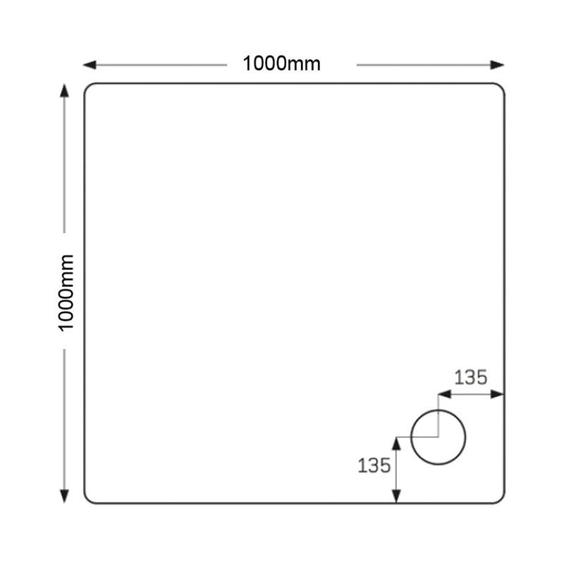 Just Trays Fusion 1000mm Square Shower Tray Anti-Slip