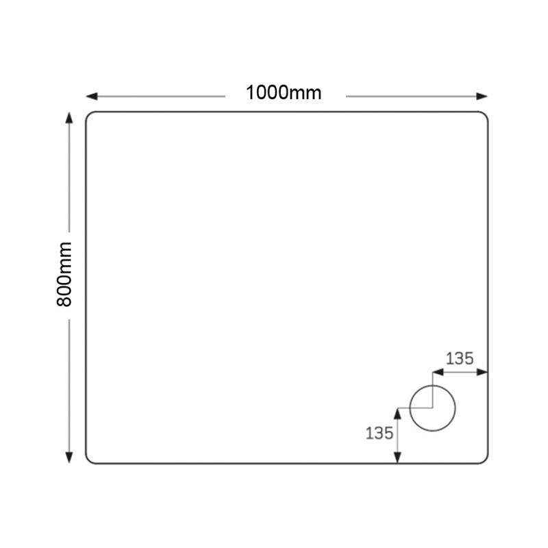 Just Trays Fusion 1000x800mm Rectangular Shower Tray Anti-Slip