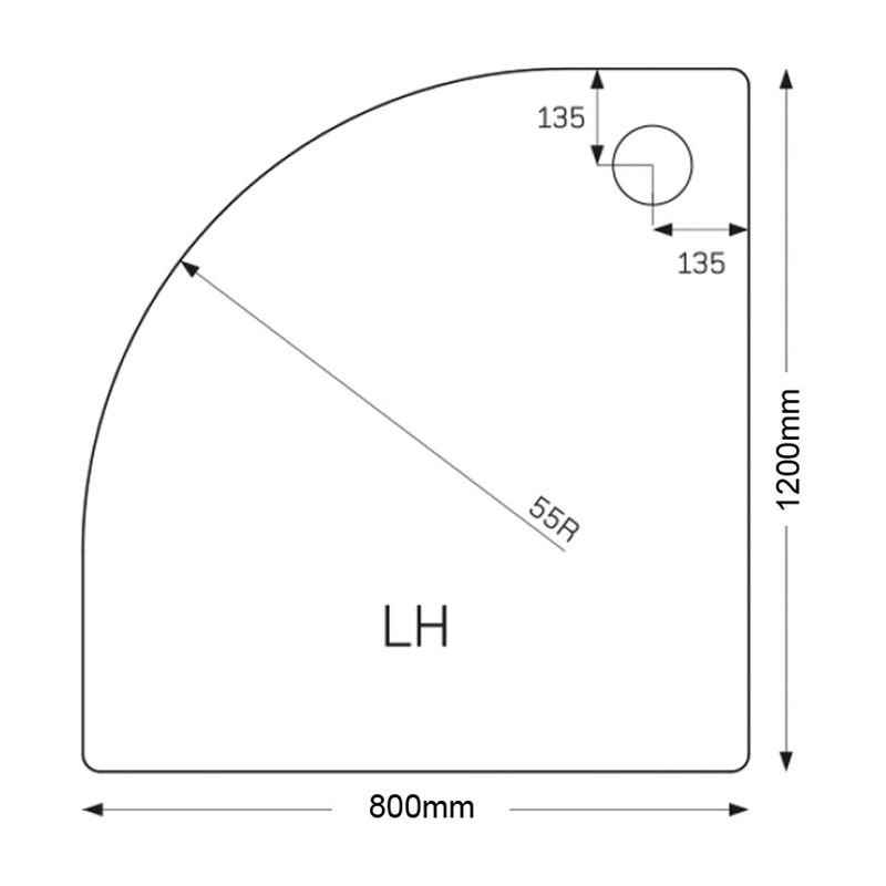 Just Trays Fusion 1200x800mm Offset Quadrant LH Anti-Slip Tray