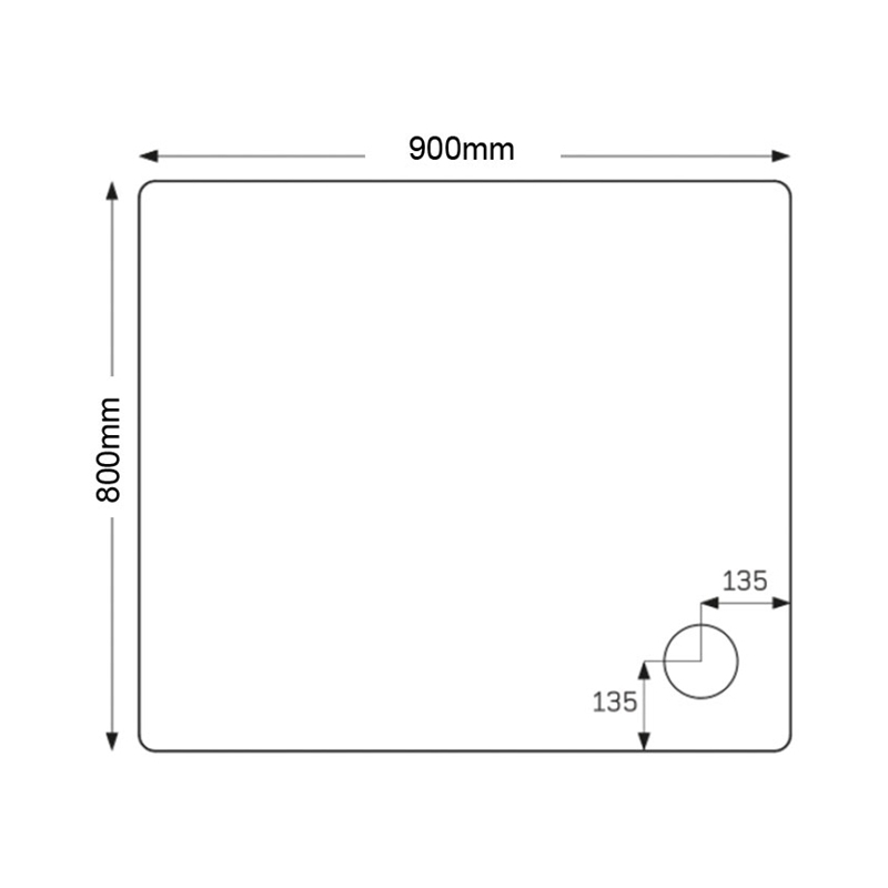 Just Trays Fusion 900x800mm Shower Tray 4 Upstands Anti-Slip