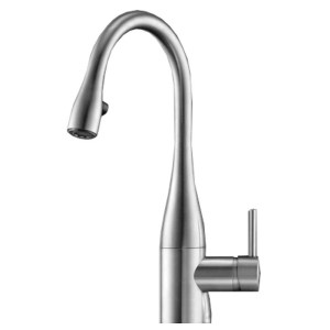 KWC Eve Mini Sink Mixer with Pull-Out Aerator Stainless Steel
