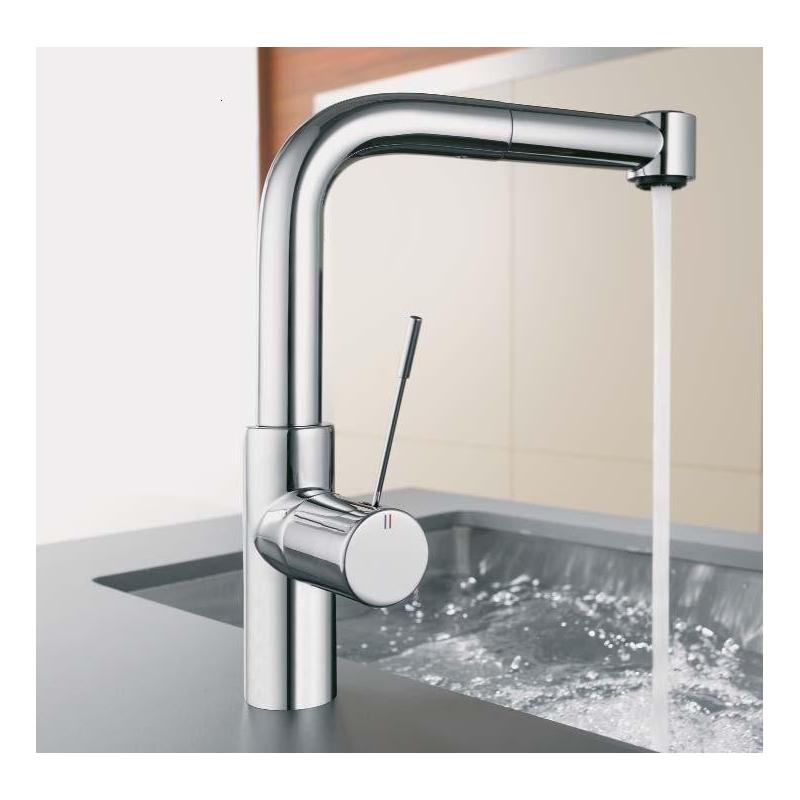 KWC Ono Mono Sink Mixer with Pull-Out Spray Chrome