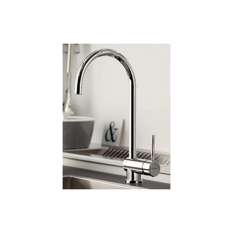 Newform X-T Mono Sink Mixer with Folding Spout Brushed Steel