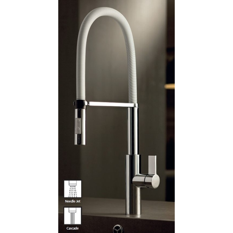 Newform Libera Sink Mixer with Swivel Brushed Steel Spring