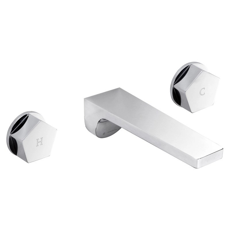 Newform Park Wall Mounted 3 Hole Basin Mixer without Waste