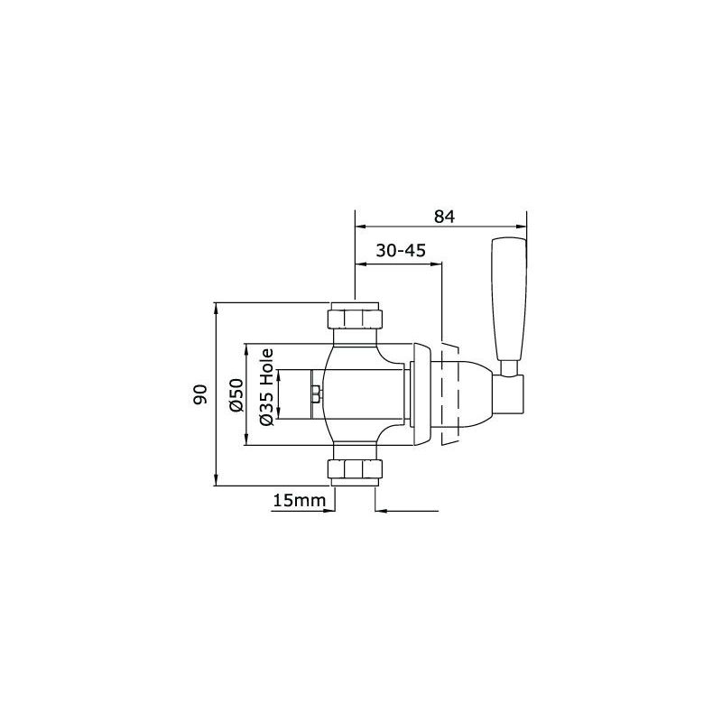 """Perrin & Rowe Contemporary Single 1/2"""" Wall Valve, Lever"""