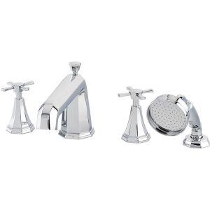Perrin & Rowe Deco 4 Hole Bath Shower Mixer, Cross
