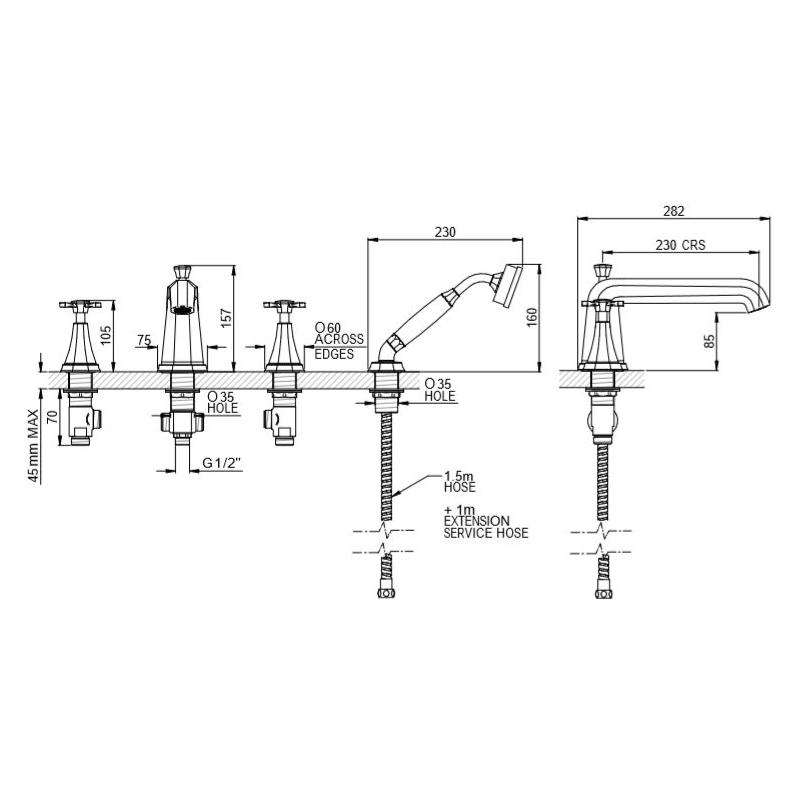 Perrin & Rowe Deco Crosstop 4 Hole Bath Shower Mixer Pewter