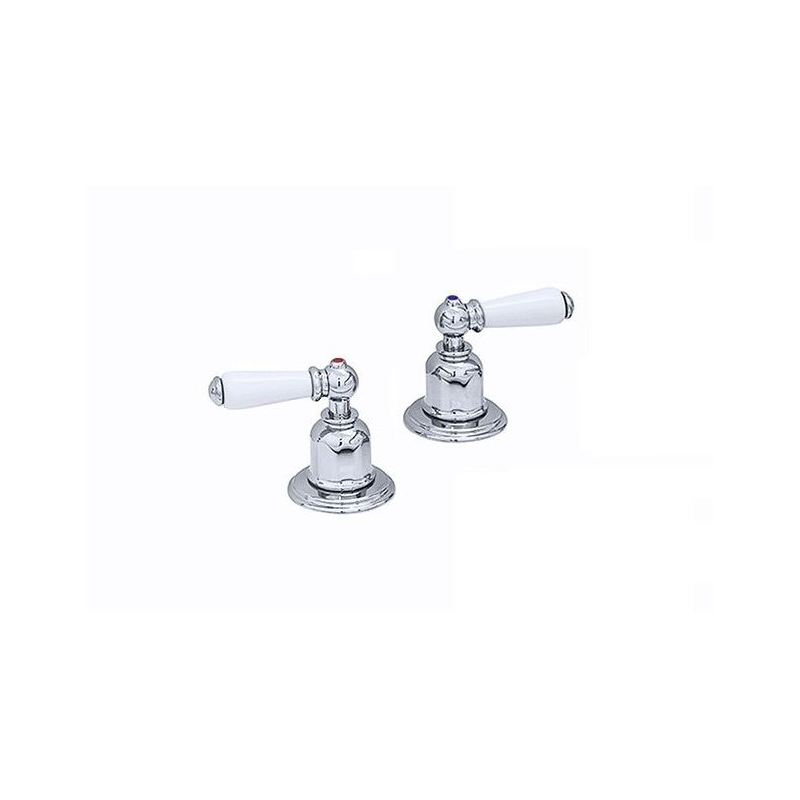 """Perrin & Rowe Pair of 3/4"""" Deck Valves with Lever Handles Pewter"""