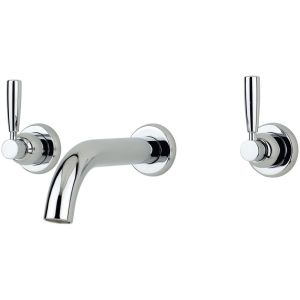 Perrin & Rowe Contemporary Lever 3 Hole Wall Bath Set Pewter