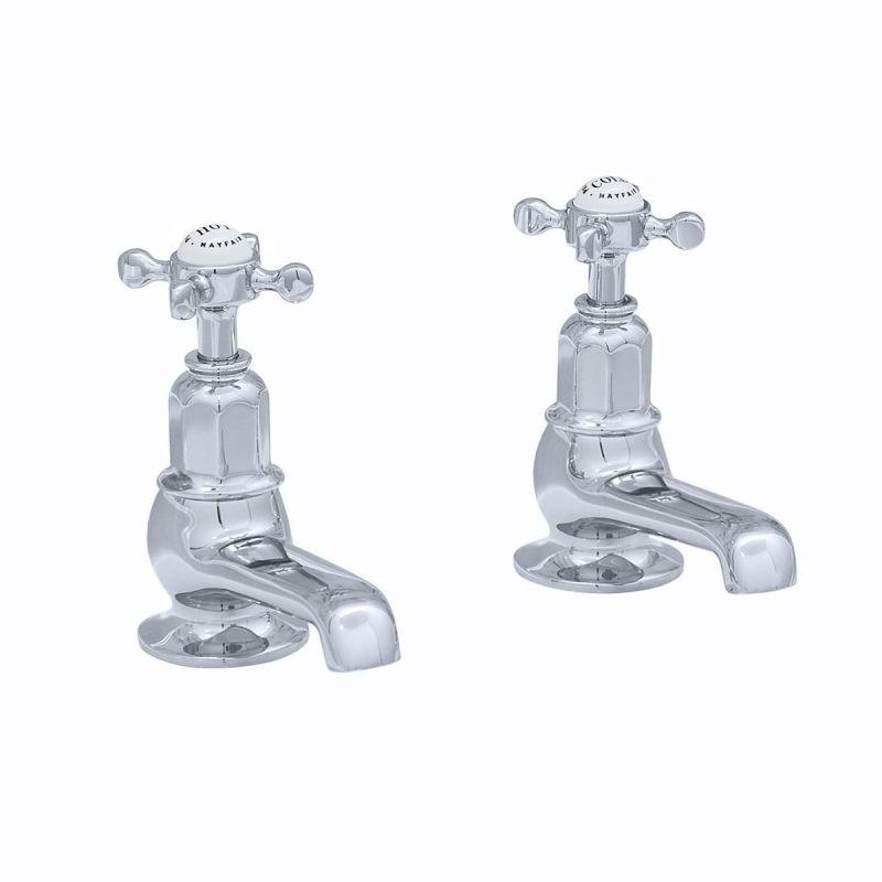 Perrin & Rowe Pair of Bath Taps with Crosshead Handles Nickel