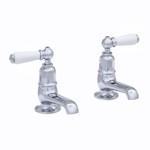 Perrin & Rowe Pair of Basin Taps with Lever Handles Chrome