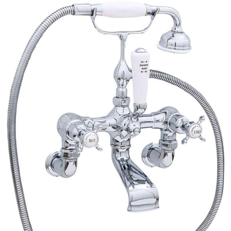 Perrin & Rowe Traditional Bath Shower Mixer & Wall Unions, Cross