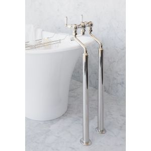Perrin & Rowe Bath Filler with Lever Handles & Floor Legs Nickel