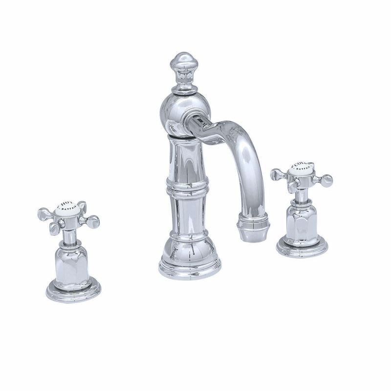 Perrin & Rowe 3 Hole Crosshead Basin Set Country Spout Pewter