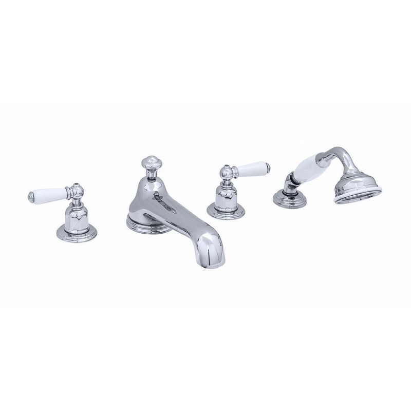 Perrin & Rowe 4 Hole Bath Set Low Spout Lever Handles Pewter