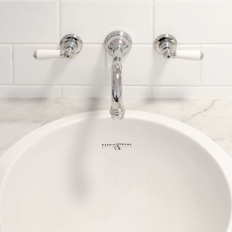 Perrin & Rowe 3 Hole Wall Basin Set with Lever Handles Chrome