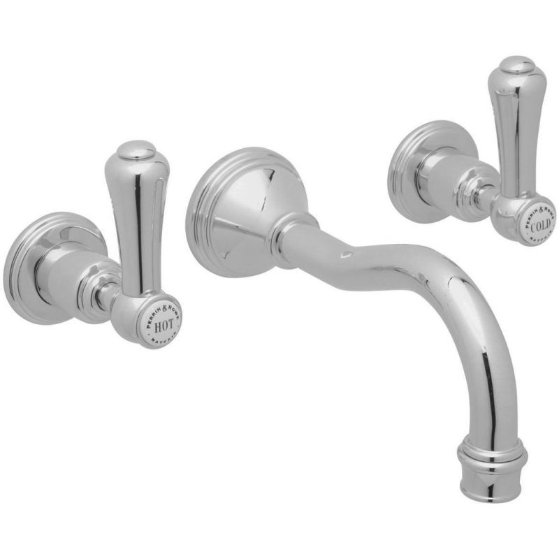 Perrin & Rowe Georgian Wall Mounted Country Spout Basin Mixer, Lever