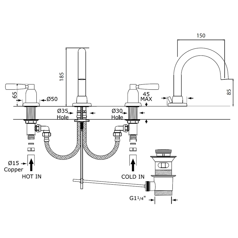 Perrin & Rowe Contemporary 3 Hole Basin Mixer with Lever Handles