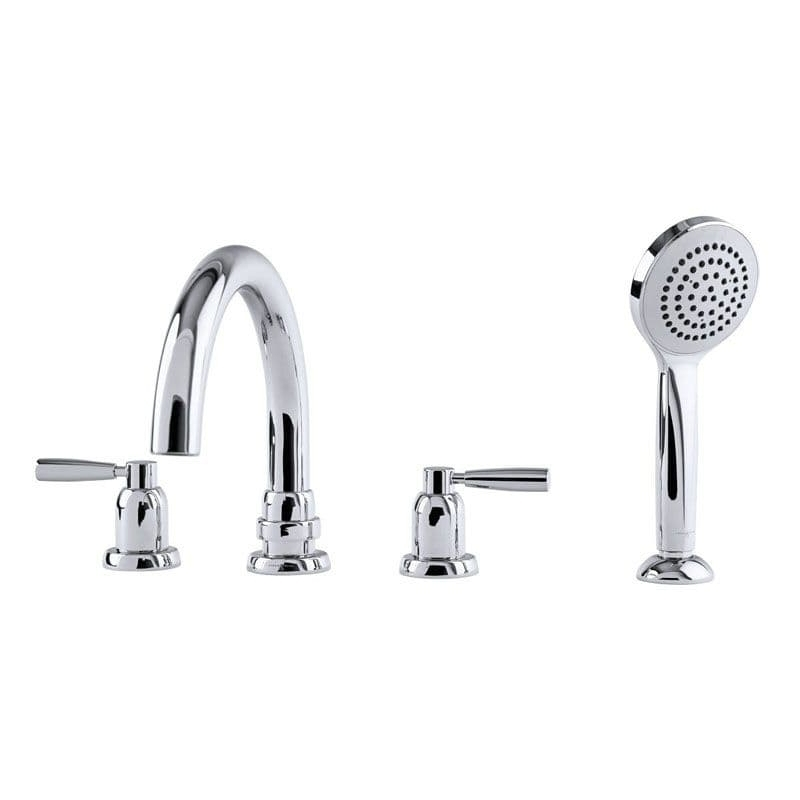 Perrin & Rowe Contemporary 4 Hole Bath Tap Set with Lever Handles