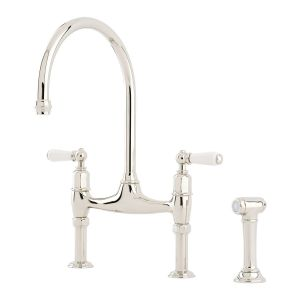 Perrin & Rowe Ionian Bridge Sink Mixer, Lever Handles & Rinse, Nickel