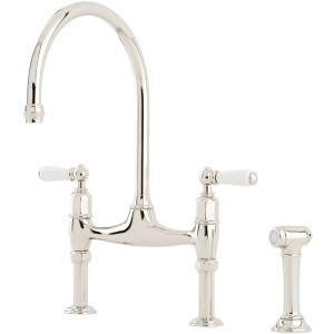 Perrin & Rowe Ionian Taps with Lever Handles & Rinse Pewter